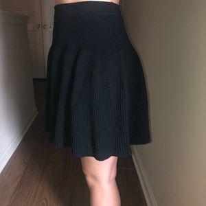 Black knit skater skirt